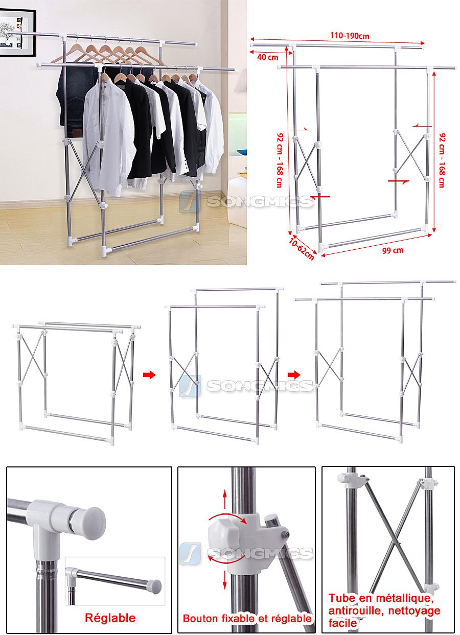 songmics r glables portant en porte v tement porte manteau penderie de rangement. Black Bedroom Furniture Sets. Home Design Ideas