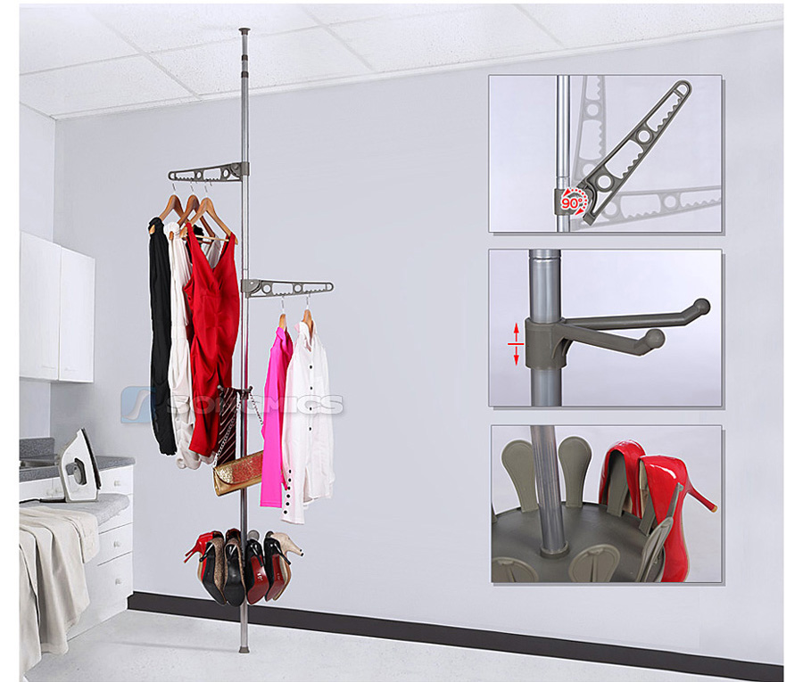songmics teleskop kleiderst nder kleiderstange schuhregal schuhkarussell llr05x ebay. Black Bedroom Furniture Sets. Home Design Ideas