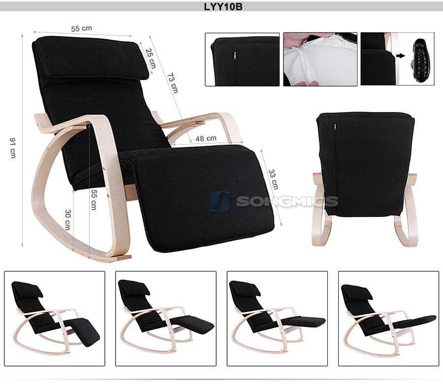 songmics rocking chair armrest chair relax recliner garden lounger rocker chair ebay