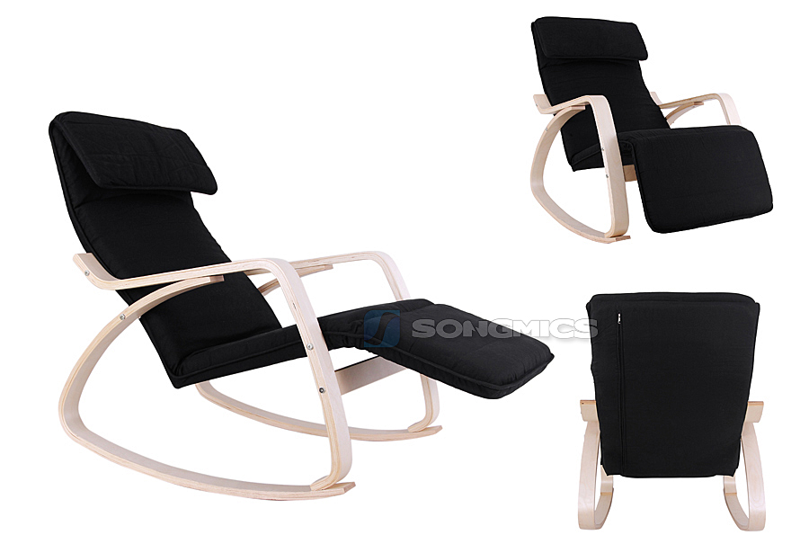Schaukelstuhl schwarz schwingsessel relaxstuhl for Schaukelstuhl schwarz