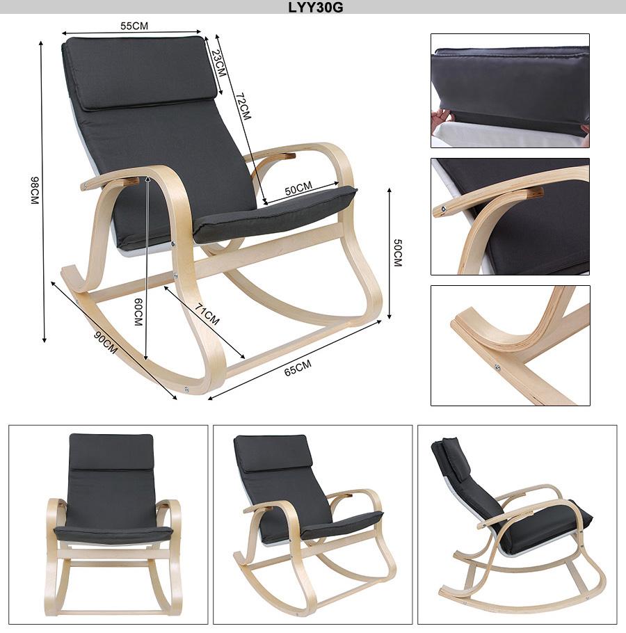 songmics rocking chair relax armchair birch veneer with cushion sun rocker
