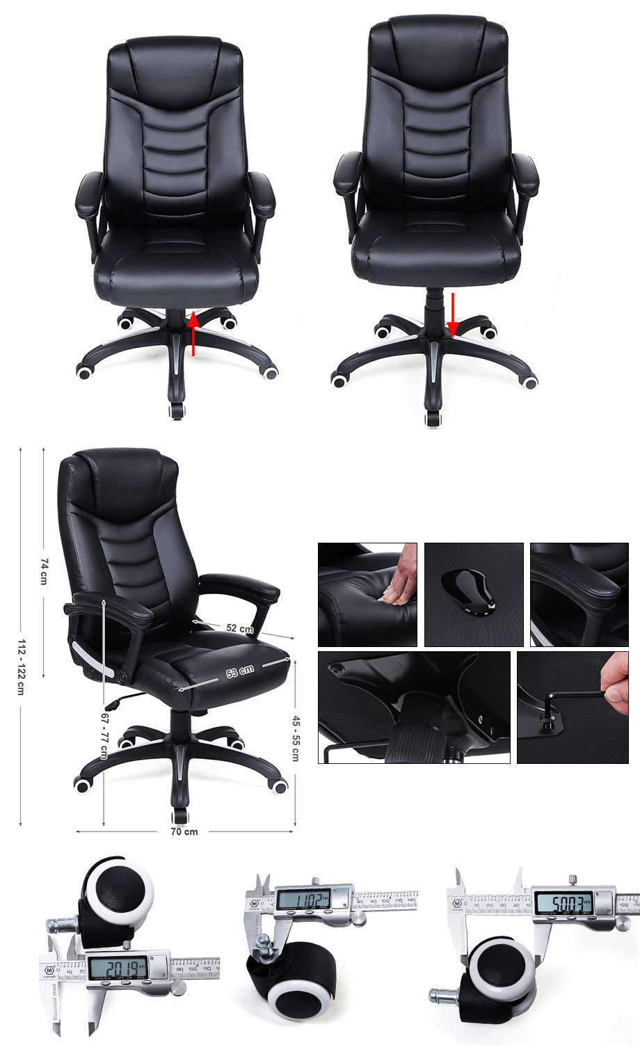 songmics chaise fauteuil si ge de bureau chaise pour ordinateur pu noir obg21b ebay. Black Bedroom Furniture Sets. Home Design Ideas