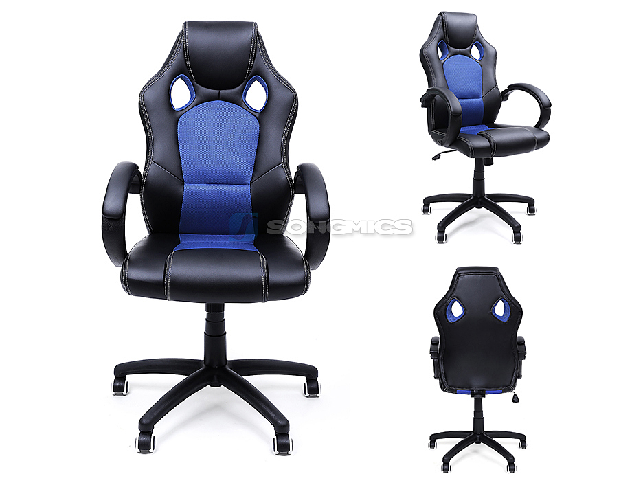 songmics racing stuhl b rostuhl chefsessel drehstuhl pu schwarz blau obg56l ebay. Black Bedroom Furniture Sets. Home Design Ideas