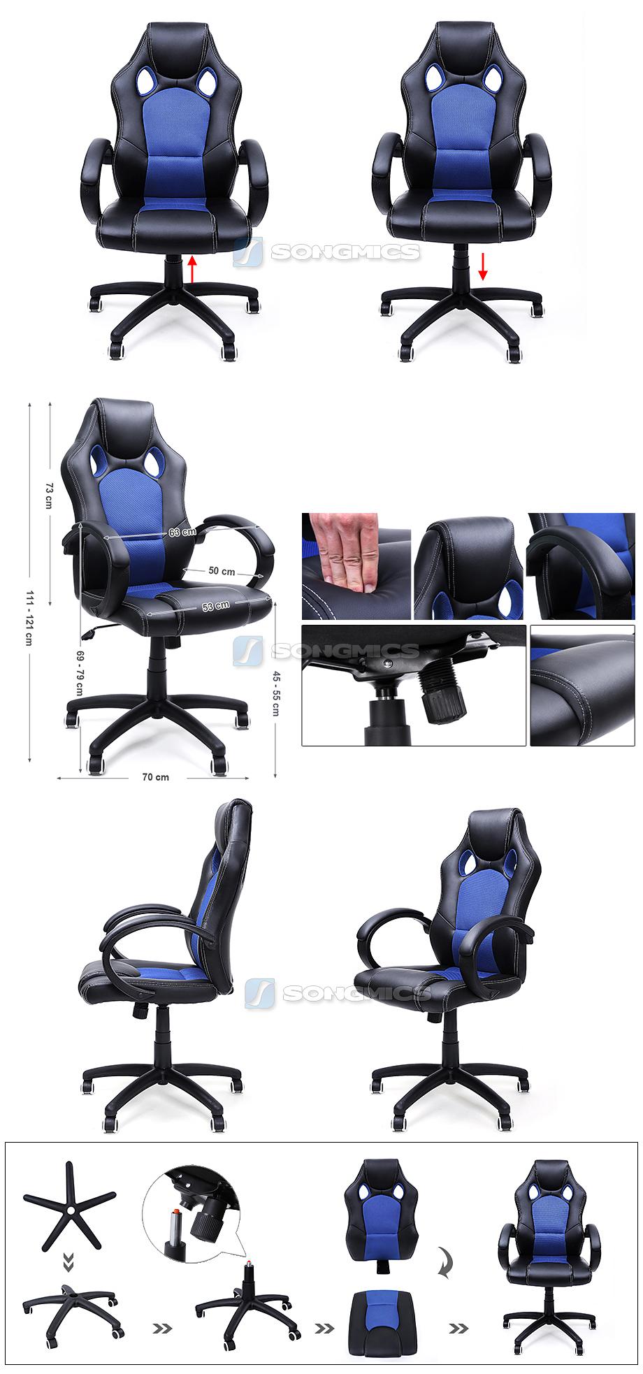 songmics racing stuhl b rostuhl chefsessel drehstuhl pu schwarz blau obg56l ebay. Black Bedroom Furniture Sets. Home Design Ideas