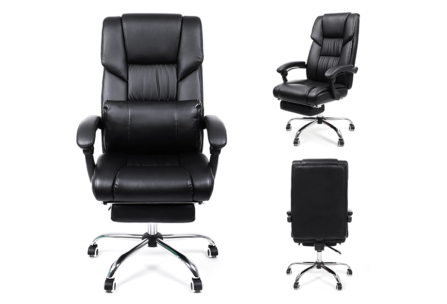 songmics fauteuil de bureau chaise pour ordinateur avec repos pieds pu obg71b ebay. Black Bedroom Furniture Sets. Home Design Ideas