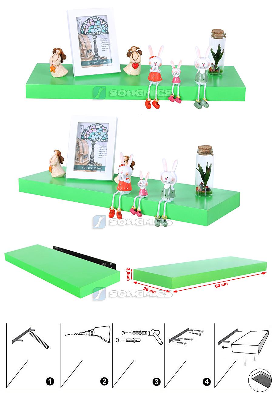 songmics 60 cm wandboard wandregal board regalboden boden b cherregal lws528 ebay. Black Bedroom Furniture Sets. Home Design Ideas