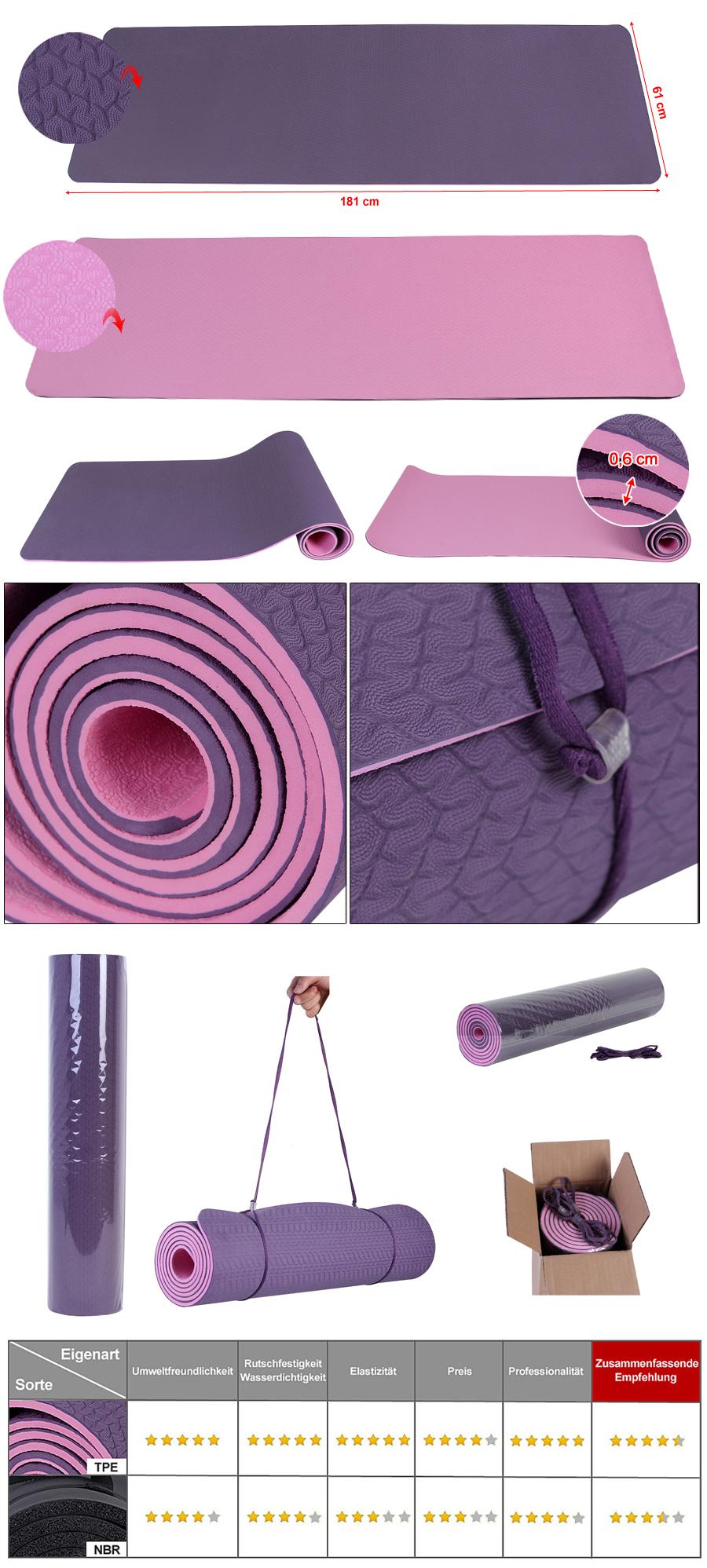 songmics tpe yogamatte gymnastikmatte sportmatte. Black Bedroom Furniture Sets. Home Design Ideas