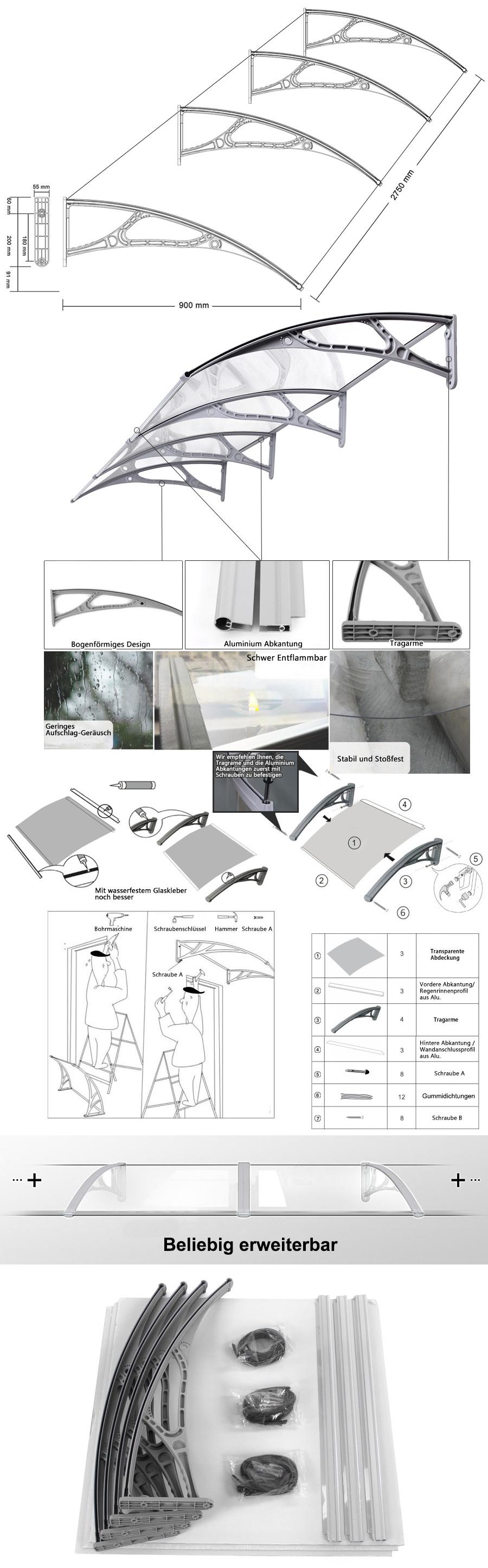 songmics vordach pultvordach t rdach haust rdach alu kunststoff 270x90 cm gvh279 ebay. Black Bedroom Furniture Sets. Home Design Ideas