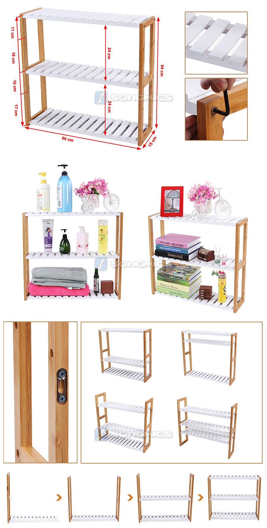 songmics bambus regal badregal wandregal handtuchhalter k chenregal bcb13h ebay. Black Bedroom Furniture Sets. Home Design Ideas