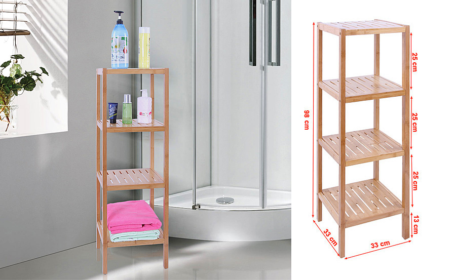 songmics 4 ablagen badregal bambus regal badezimmerregal. Black Bedroom Furniture Sets. Home Design Ideas