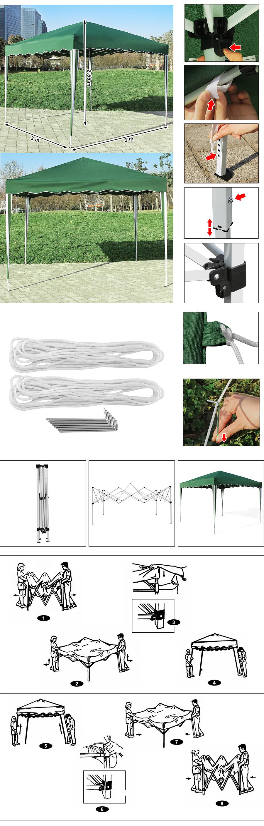 songmics faltpavillon gartenzelt partyzelt klappzelt zelt 3x3 m gr n gfp01g ebay. Black Bedroom Furniture Sets. Home Design Ideas