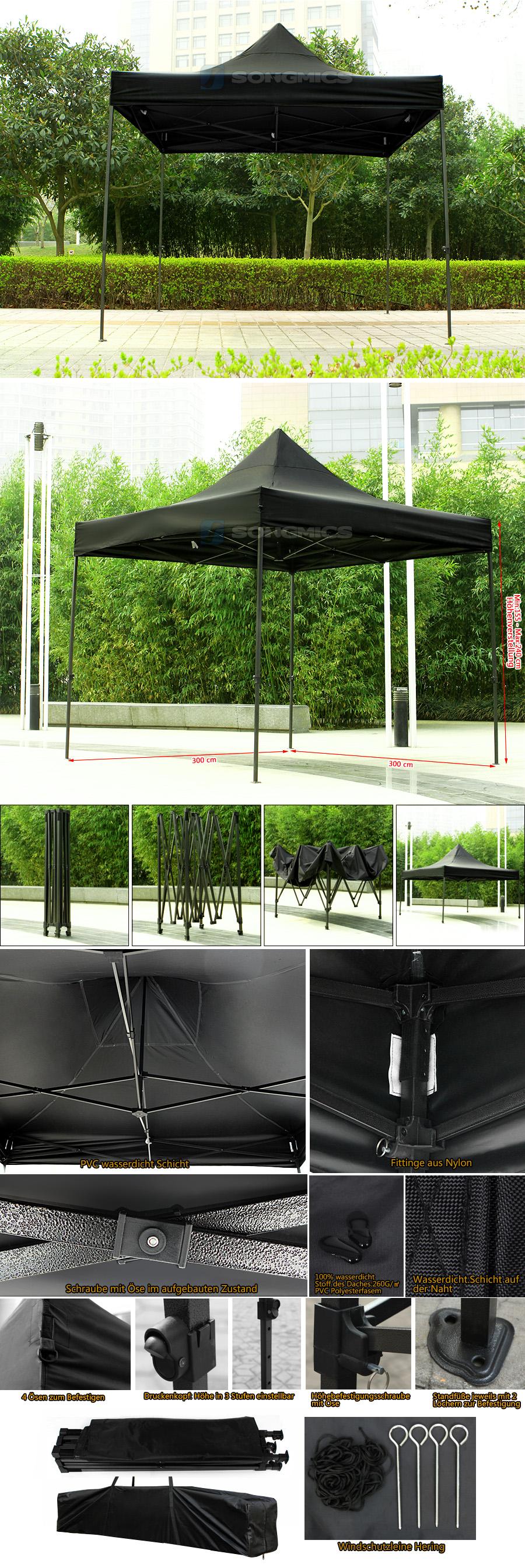 songmics faltpavillon partyzelt pavillon faltzelt gartenzelt 3x3 meter festzelt. Black Bedroom Furniture Sets. Home Design Ideas
