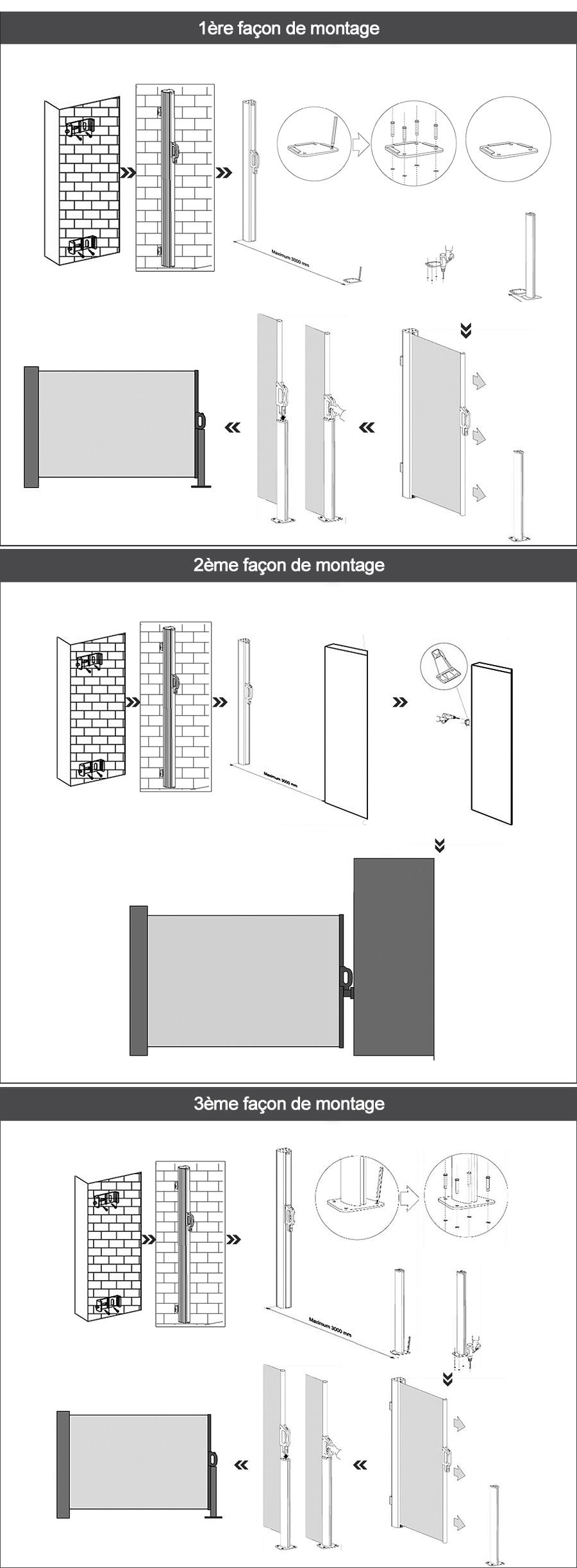 auvent fixation verticale paravent r tractable ext rieur. Black Bedroom Furniture Sets. Home Design Ideas