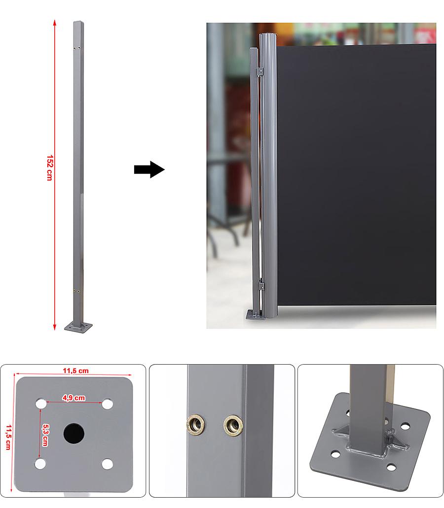 optionales zubeh r f r seitenmarkise bodenh lse standpfosten bodenhalterung ebay. Black Bedroom Furniture Sets. Home Design Ideas