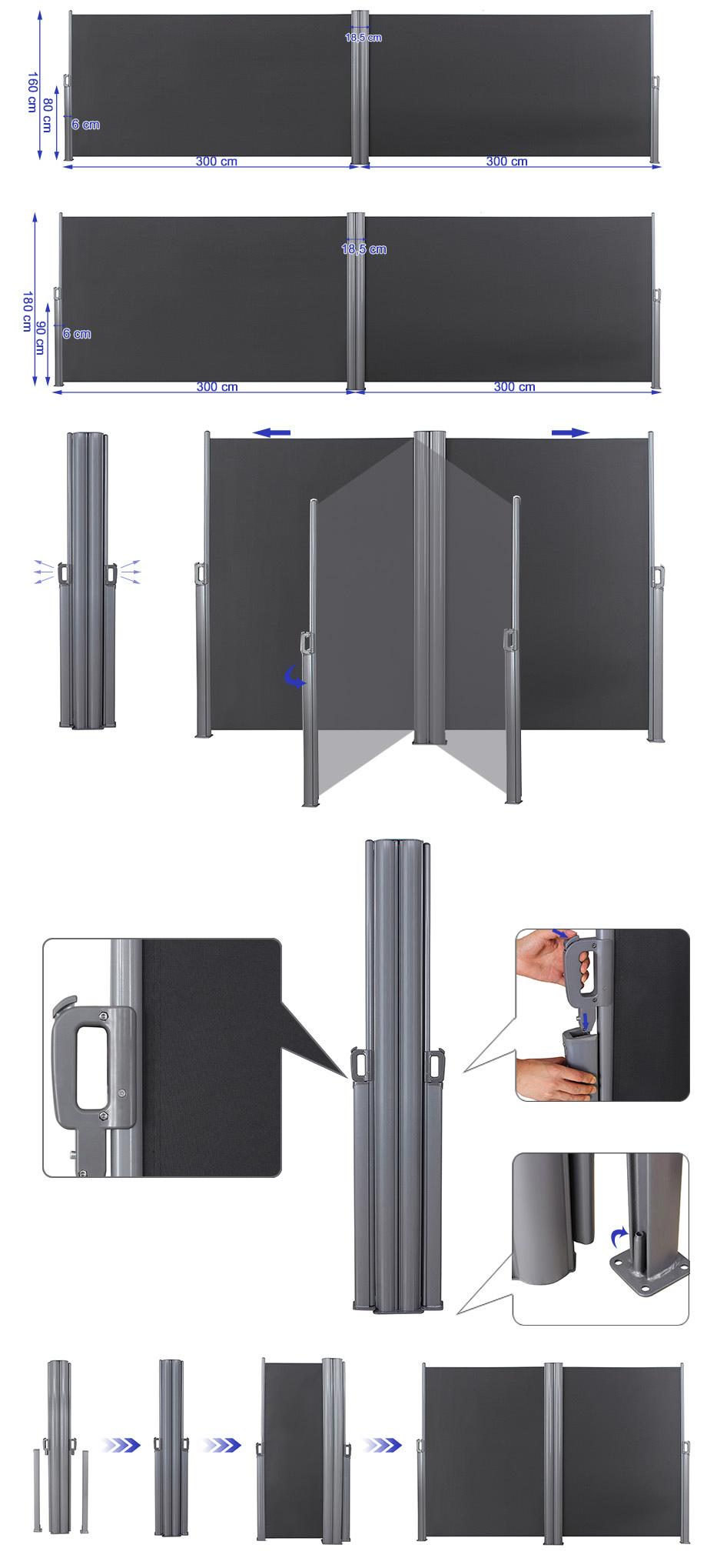 songmics doppel seitenmarkise seitenwandmarkise sichtschutz sonnenschutz ebay. Black Bedroom Furniture Sets. Home Design Ideas