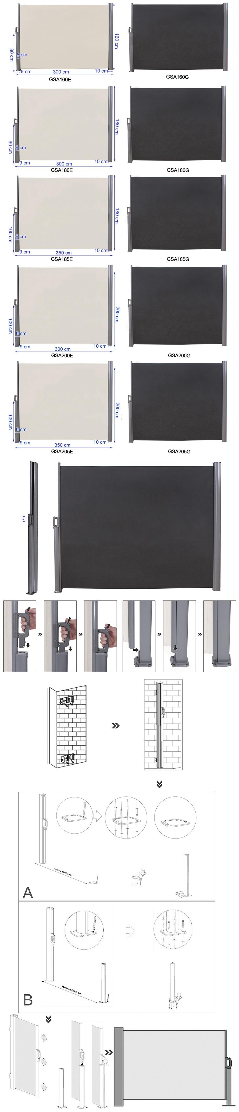 Innenarchitektur Markisenstoff Austauschen Dekoration Von Seitenmarkise Seitenrollo Aus Polyester 280 In Der
