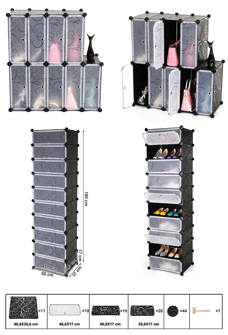 diy regalsystem schuhregal steckregal schrank schuhablage schwarz lpc10h ebay. Black Bedroom Furniture Sets. Home Design Ideas