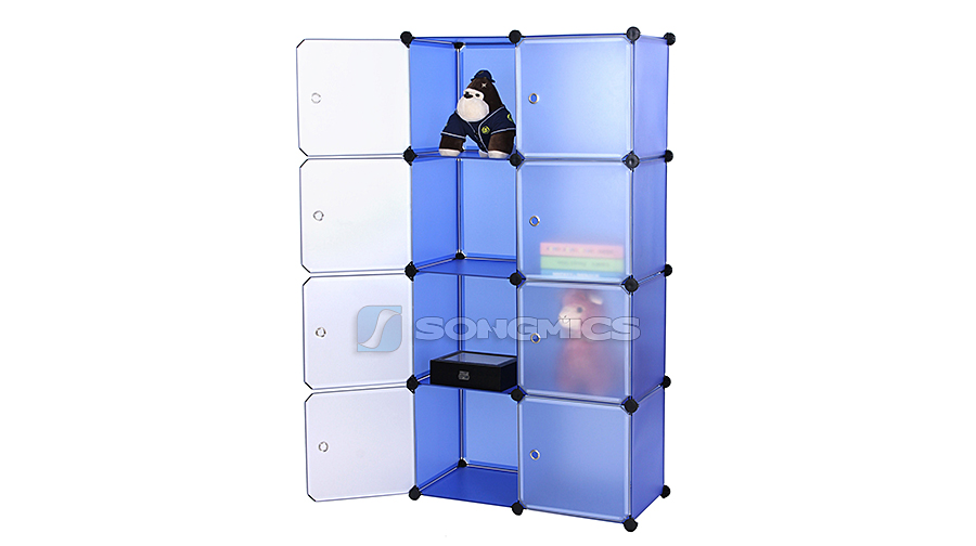 regal schrank garderobeschrank kleiderschrank standregal wohnzimmer blau lpc24q ebay. Black Bedroom Furniture Sets. Home Design Ideas