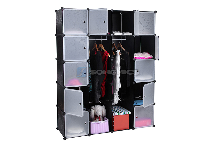 kleiderschrank garderobe regal steckregal schrank standregal extra tief lpc45h ebay. Black Bedroom Furniture Sets. Home Design Ideas
