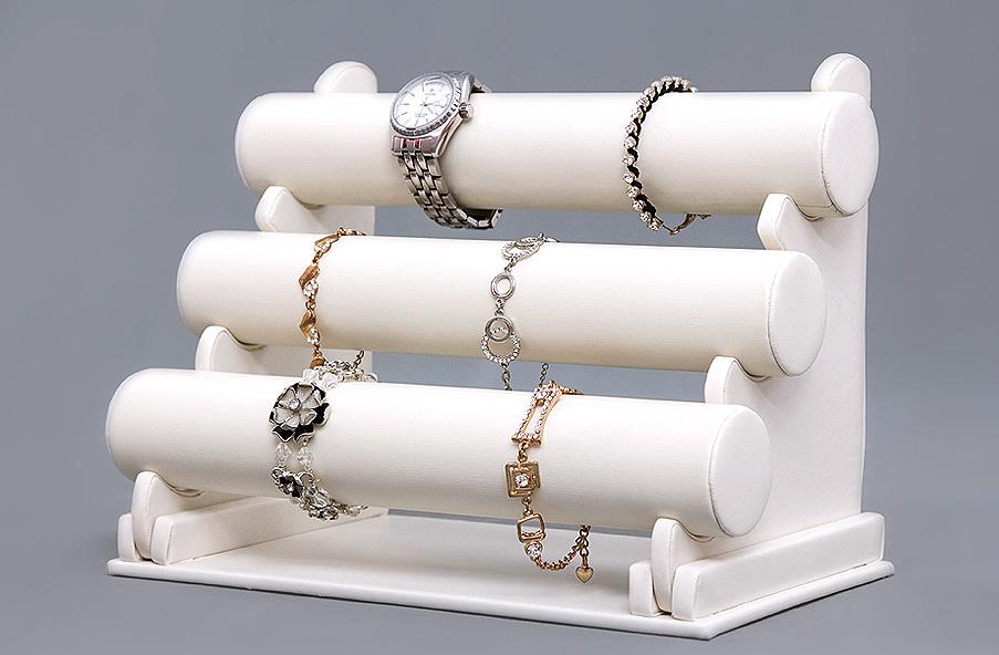 schmuckst nder schmuckhalter armbandst nder uhrenst nder kunstleder wei jds101 ebay. Black Bedroom Furniture Sets. Home Design Ideas
